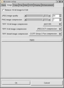 XSane - настройка сжатия изображения