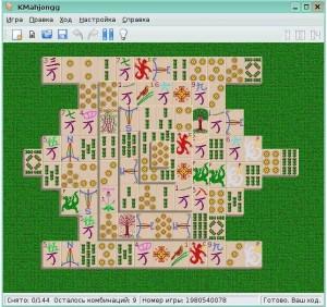 Маджонг - стандартная игра в Linux