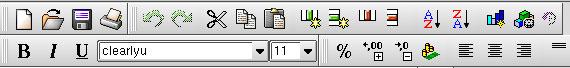 KSpread - Кнопки на панели инструментов